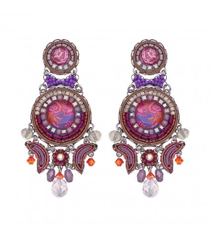 Deep Fuchsia, Rose Earrings