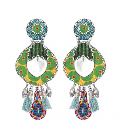 Green Tambourine Earrings