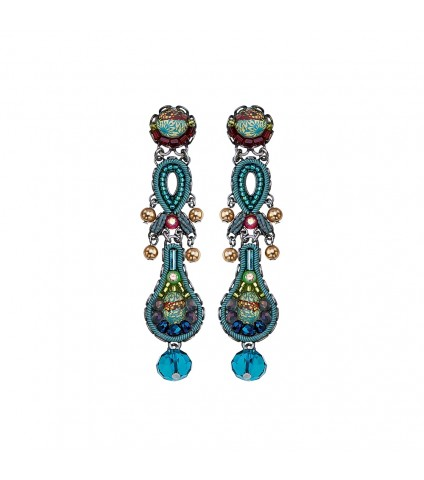 Turquoise Crown, Violet Earrings